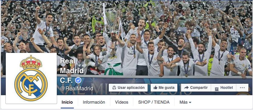 página de Facebook Real Madrid