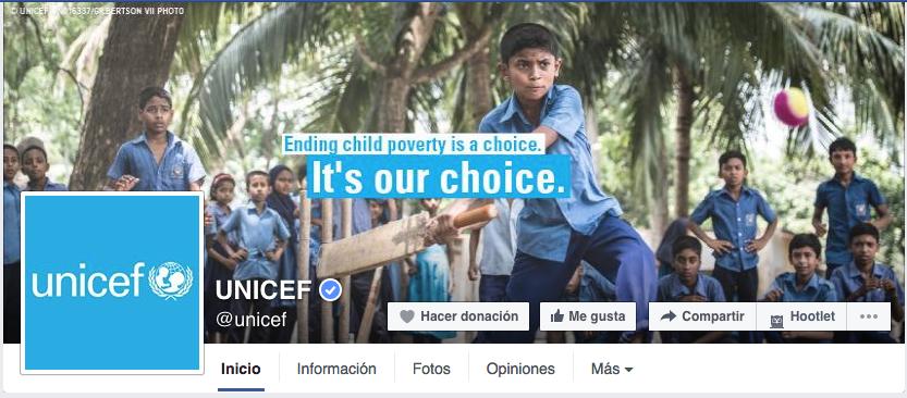 página de Facebook Unicef